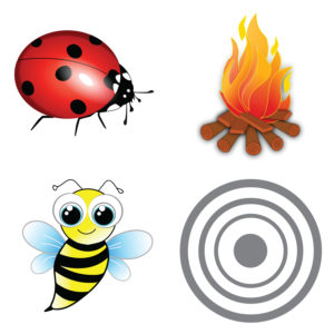 Potty Targets (Fire, Bee, Ladybug, Grey Target) – Pack of 12
