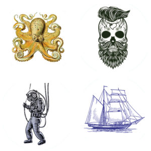 Nautical (Octopus, Day of the Dead, Scubaman, Ship) – Pack of 12